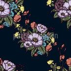 Stimmungsvolle Blumen Nahtloses Vektor Muster