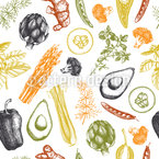 Herbs And Vegetables Pattern Design
