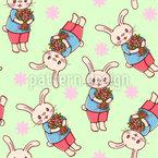 Coniglietti con Fiori disegni vettoriali senza cuciture