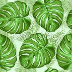 Monstera Und Palmen Blätter Nahtloses Vektormuster