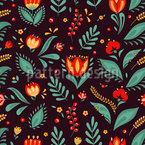 Flowers And Grass Seamless Vector Pattern