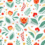 Blossoms And Grass Vector Pattern