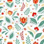 Blüten Und Gras Vektor Muster