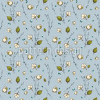 Cotton Flowers Seamless Pattern