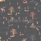 Pigs Birds And Trees Seamless Vector Pattern