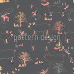 ブタの鳥と木 シームレスなベクトルパターン設計