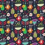 Fantasie Retro Flora Nahtloses Vektormuster