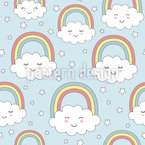 Happy Little Clouds Seamless Vector Pattern Design