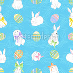 Easter Bunnies And Ornate Eggs Seamless Vector Pattern Design