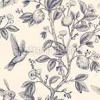 Hummingbird And Lemon Tree Seamless Vector Pattern Design