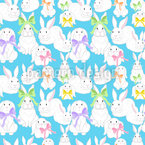 Easter Bunnies Family Seamless Vector Pattern Design