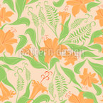 Vintage Lily Seamless Vector Pattern Design