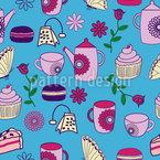 Garden Tea Party Seamless Vector Pattern Design