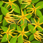 Ylang Ylang Exotic Flowers Seamless Vector Pattern Design