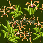 Scorpion Orchids Seamless Vector Pattern Design