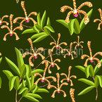 Skorpion Orchideen Nahtloses Vektormuster