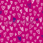 Hand-drawn Heart Shapes Seamless Vector Pattern