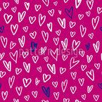 Handgezeichnete Herzformen Nahtloses Vektor Muster
