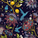 Fantastic Garden With Birds Seamless Vector Pattern