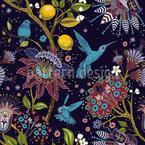Fantastischer Garten mit Vögeln Nahtloses Vektor Muster