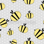 Cute Bee Seamless Vector Pattern Design