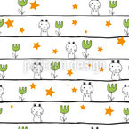 Doodle Bunny Seamless Vector Pattern Design