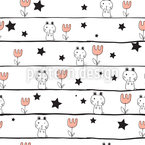 Doodle Bunny Nigth Seamless Vector Pattern Design