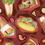 Fast Food Zusammenstellung Nahtloses Vektormuster