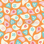 Tossed Floral Leaves Vector Pattern