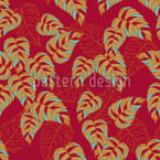 Birchleaves on Red Seamless Vector Pattern Design