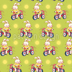 Cartoon Bunnies On Bicycles Pattern Design