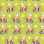 Cartoon-Häschen auf Fahrrädern Muster Design