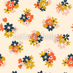 Summer Flower Bouquets Seamless Vector Pattern Design