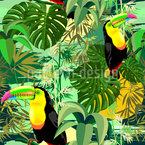Amazonia Toucan Seamless Vector Pattern Design
