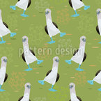 Blue Footed Boobies Seamless Vector Pattern Design