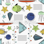 Grafical Sea Life Seamless Vector Pattern