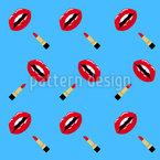 Lippenstift und Lippen Nahtloses Vektormuster