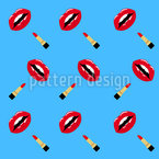Lipstick And Lips Seamless Vector Pattern Design