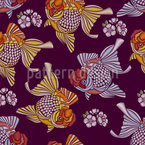 Embroidered Goldfish Seamless Vector Pattern Design