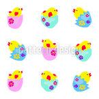 Pixel Art Hühner Vektor Muster