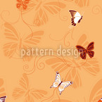 Butterflies Orange Seamless Vector Pattern Design
