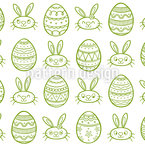 Outline Easter Seamless Vector Pattern Design