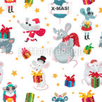 Mice And Gift Boxes Seamless Vector Pattern Design