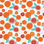Reife Orangen Nahtloses Vektormuster