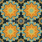 Indian Mandala Flowers Seamless Vector Pattern Design