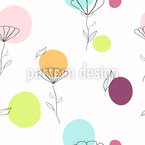 Flowers Love Dots Seamless Vector Pattern Design
