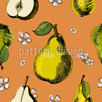 Pears And Flowers Seamless Vector Pattern Design