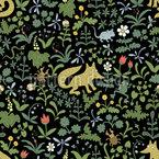 Foxes Millefleurs Seamless Vector Pattern