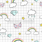 Rainbow Kitty Seamless Vector Pattern Design