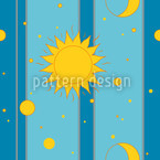 Sun, Moon and Stars Vector Pattern
